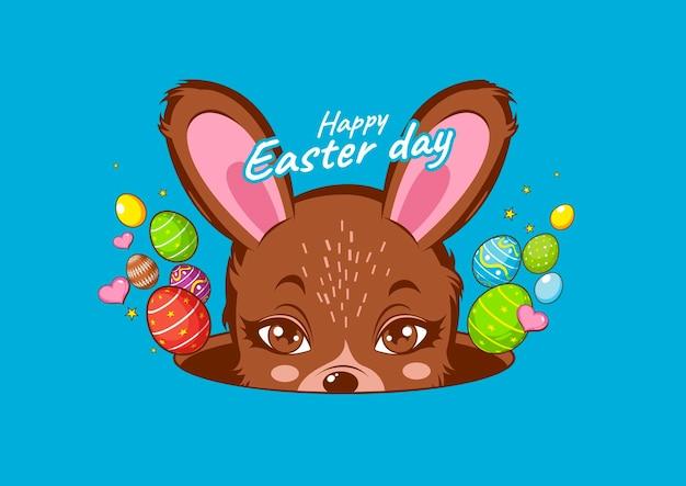 Happy easter day, rabbit cute. Premium Vector