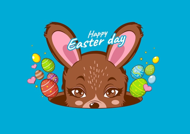 Happy easter day, rabbit white cute, bunny.