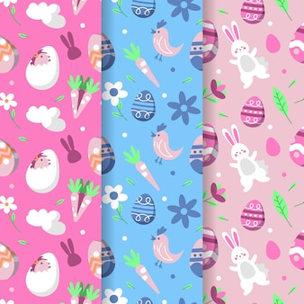 Happy easter day seamless pattern with birds and bunnies