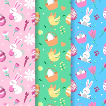 Happy easter day seamless pattern with with chicken and bunnies