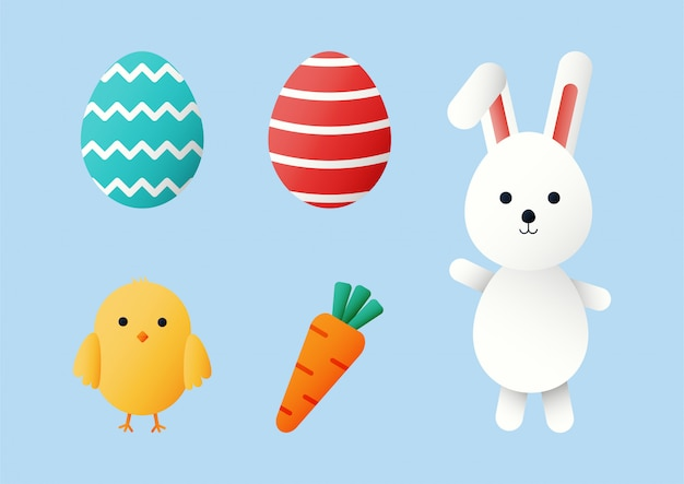 Happy easter day set. cartoon character rabbits and chicks isolated on blue background.