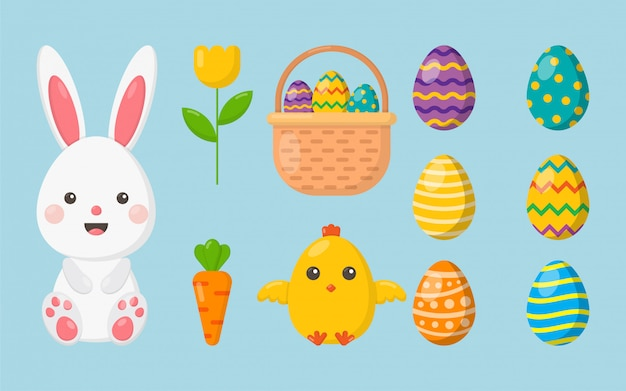 Happy easter day set. cartoon character rabbits and chicks isolated