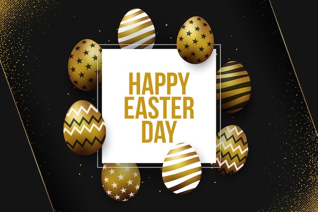 Happy easter day theme with golden details