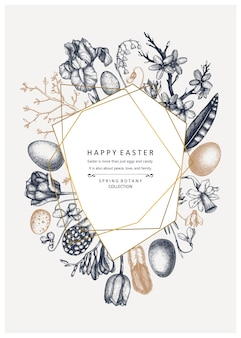 Happy easter day . trendy collage for spring banner design, greeting card or invitation. hand drawn spring illustrations. vintage easter template with golden foil decoration. floral art.