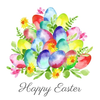Happy easter day watercolor design
