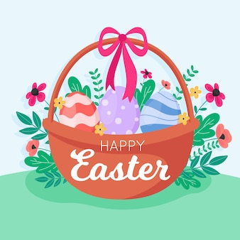 Happy easter day with basket flat design