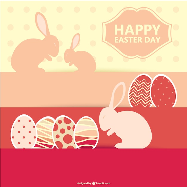 Happy easter day with bunnies and eggs