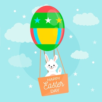 Happy easter day with bunny in hot air balloon