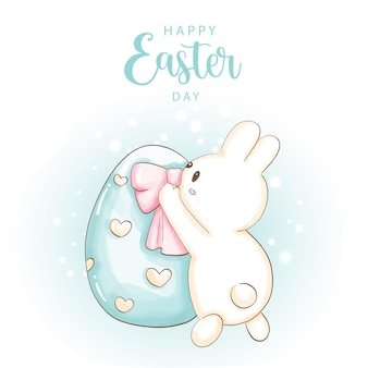 Happy easter day with cute bunny and easter eggs.