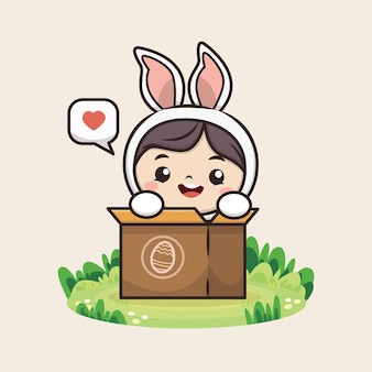 Happy easter day with cute bunny illustration