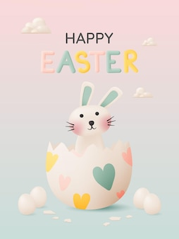 Happy easter day with cute rabbit in pastel color 3d paper art style and lot of easter eggs   illustration