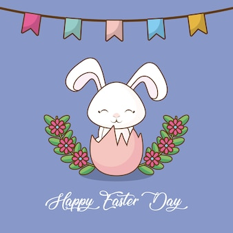 Happy easter day with decorative pennants and broken egg with cute rabbit icon