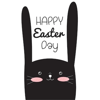 Happy easter day with easter rabbit.