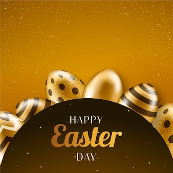 Happy easter day with golden eggs