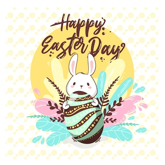 Happy easter day with greeting concept