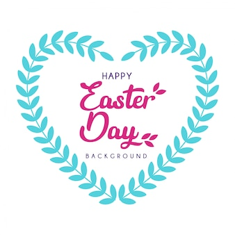 Happy easter day with heart leaf decoration background