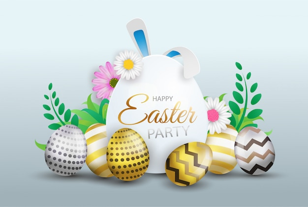 Happy easter decoration, colorful eggs with sign, flowers and text.