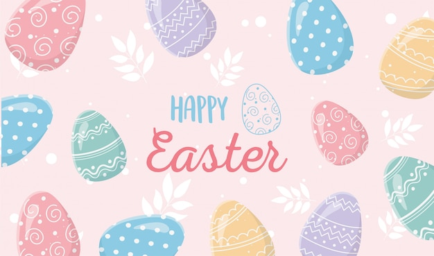 Счастливой пасхи нежные яйца украшения богато украшенный баннер