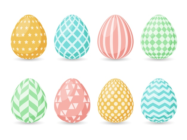 Happy easter design. collection of easter eggs.