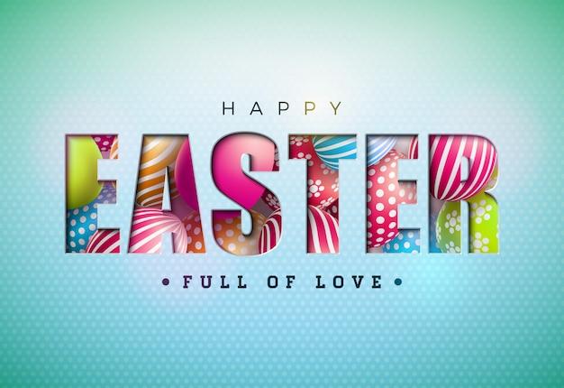 컷 아웃 편지에 다채로운 계란으로 행복 한 부활절 디자인