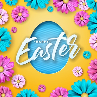 Happy easter design with flower and cutting egg