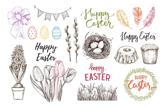 ハッピーイースターの絵:イースターエッグ、羽、巣、ケーキ、レタリング、春の花
