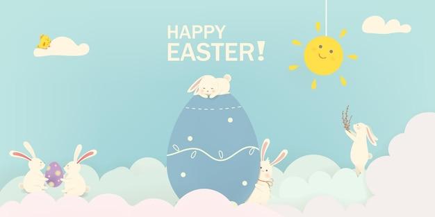 Счастливой пасхи пасхальный кролик кролик с яйцами баннер шаблон