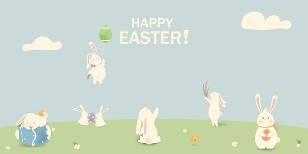 Happy easter easter rabbit bunny with eggs grass flowers in field