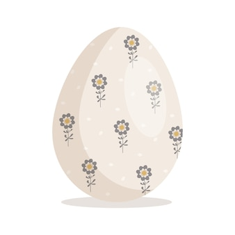 Happy easter egg icon christian holiday symbol with different textures festive decorations