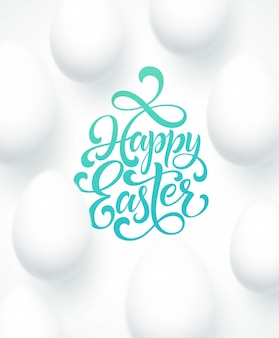 Happy easter egg lettering on the blue background with white egg