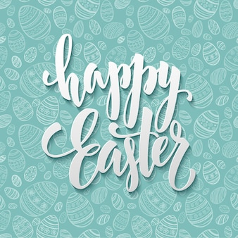 Happy easter egg lettering on seamless background.