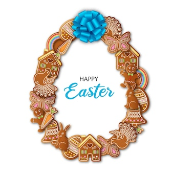 Happy easter egg shaped frame with gingerbread cookies