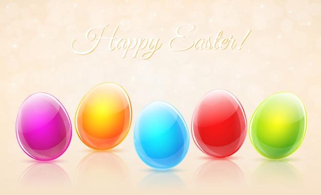 Happy easter eggs card vector
