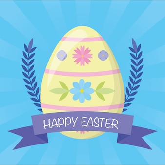 Happy easter eggs decoration greeting card