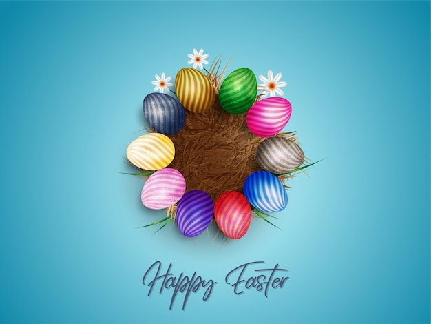 Happy easter .eggs in dray grass with white flowers isolated