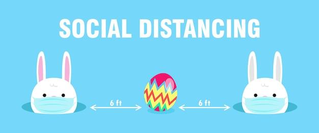 新しい通常の社会的距離のためのハッピーイースターの卵