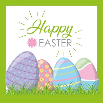 Happy easter eggs on grass greeting card