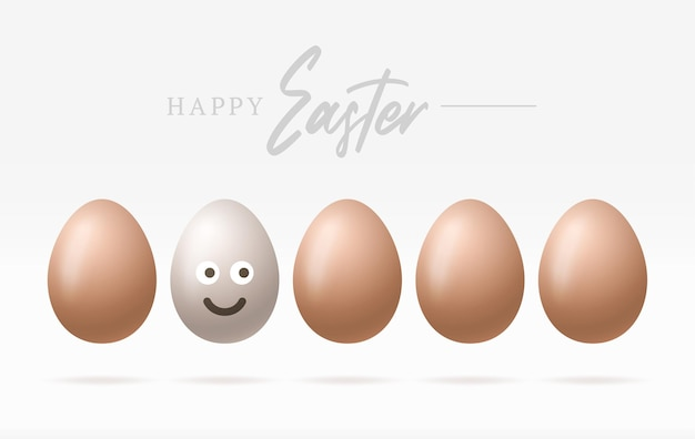 Happy easter eggs with cute smiling emoji face illustration