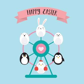 Happy easter eggs with ferris wheel .