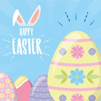 Happy easter eggs with pastel colors and rabbit ears greeting card