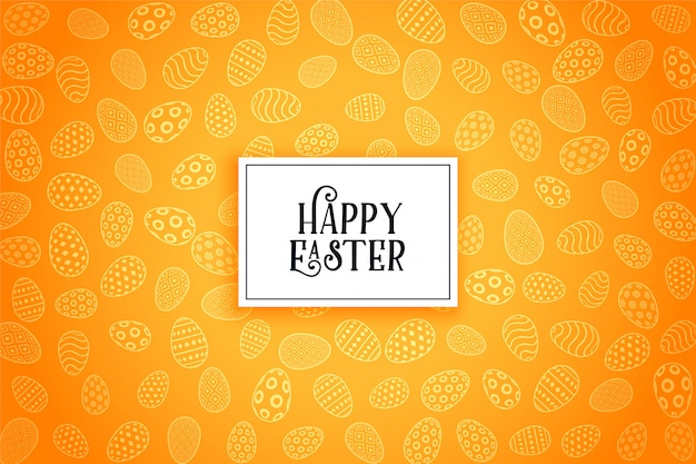 Happy easter eggs yellow pattern background