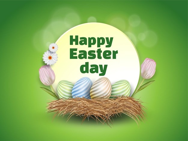 Happy easter element for design.  eggs caged dry grass with isolated flowers