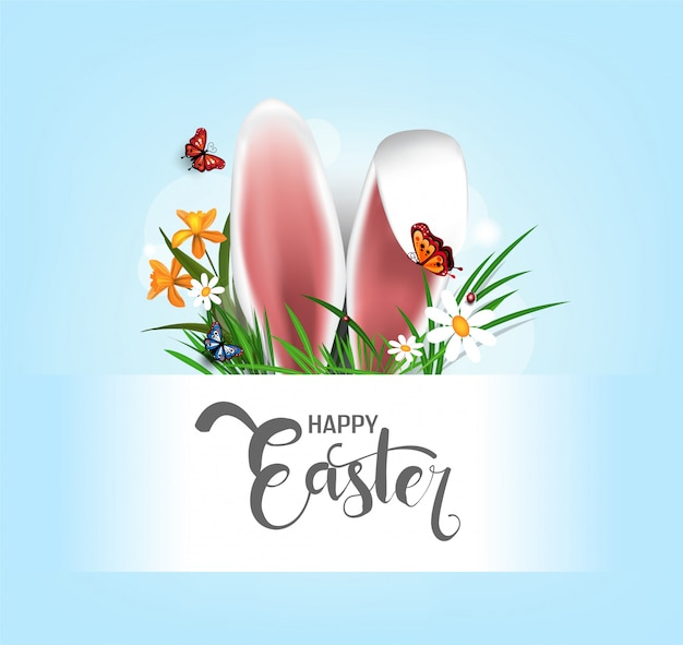 Happy easter   element for design.eggs in green grass with white flowers isolated