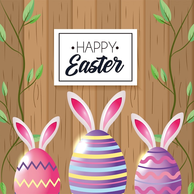 Happy easter emblem with easter rabbit and eggs with plants