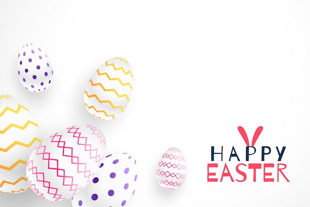 Happy easter festival 3d realistic eggs