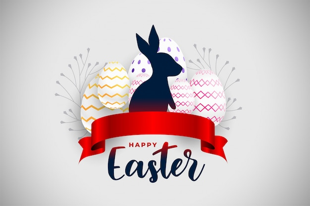 Happy easter festival card with red ribbon and rabbit