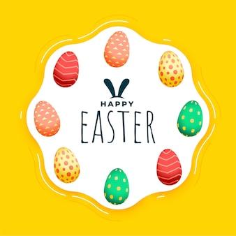 Saluto felice di festival di pasqua con le uova variopinte