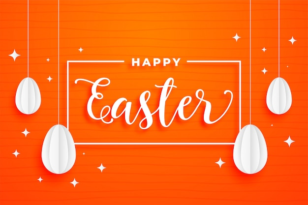 Happy easter festival orange card holiday background
