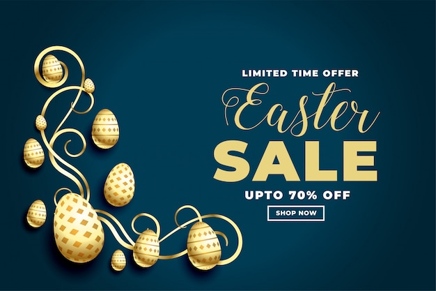 Happy easter festival sale banner with golden eggs