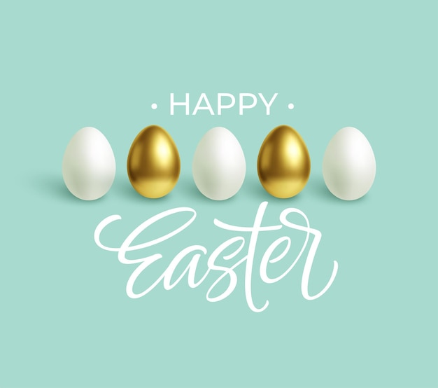 Happy easter festive blue background with gold and white easter eggs